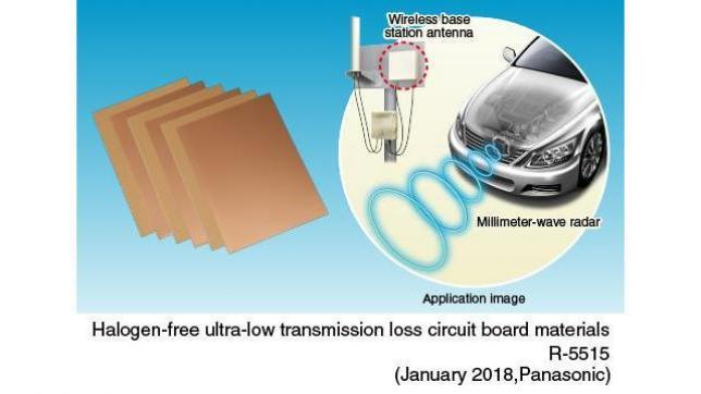 "Panasonic Develops ""Halogen-free Ultra-low Transmission Loss Circuit Board Material"" for Millimeter-wave Band Antennas"
