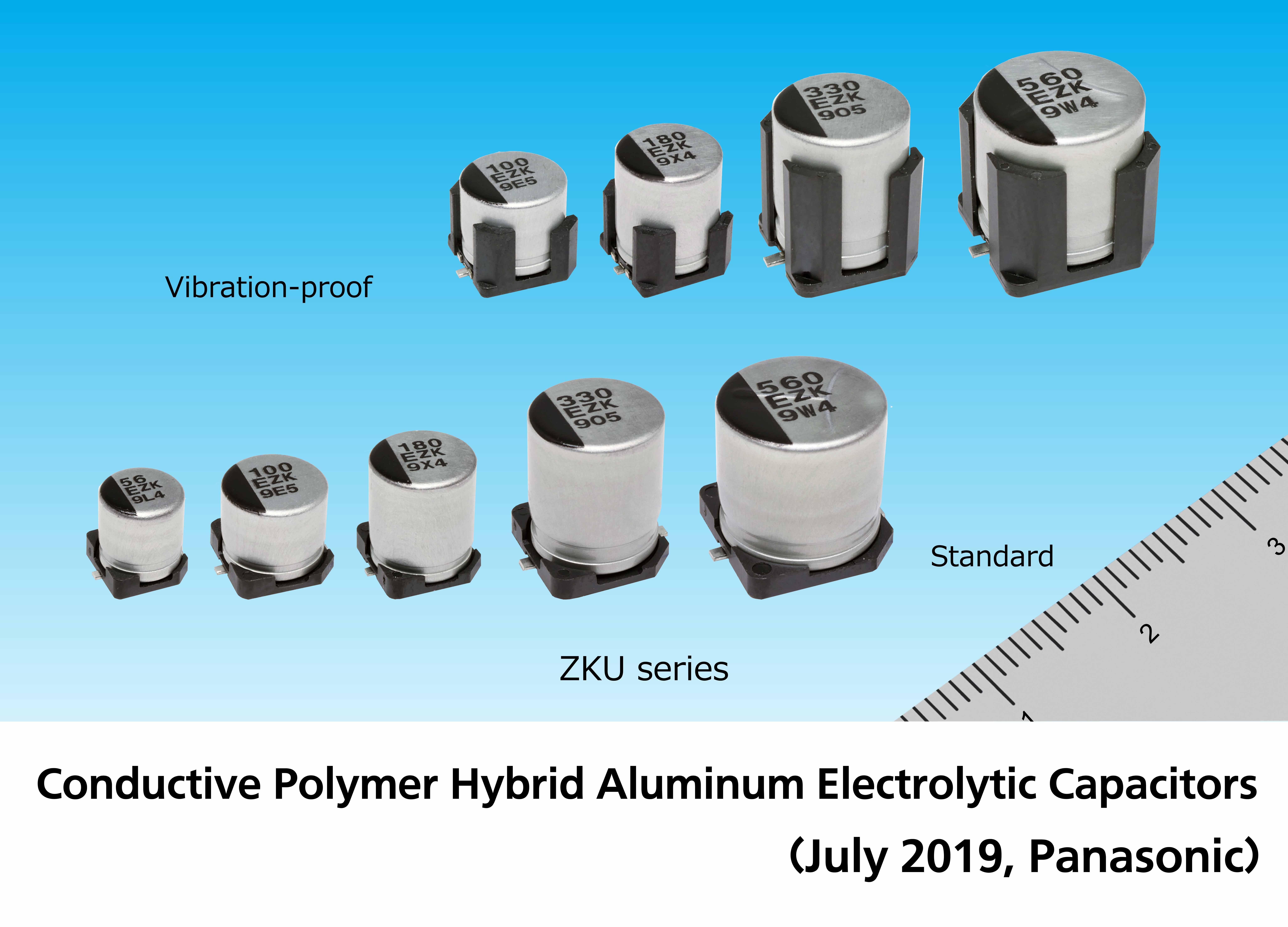 image: Conductive Polymer Hybrid Aluminum Electrolytic Capacitors (ZKU Series)