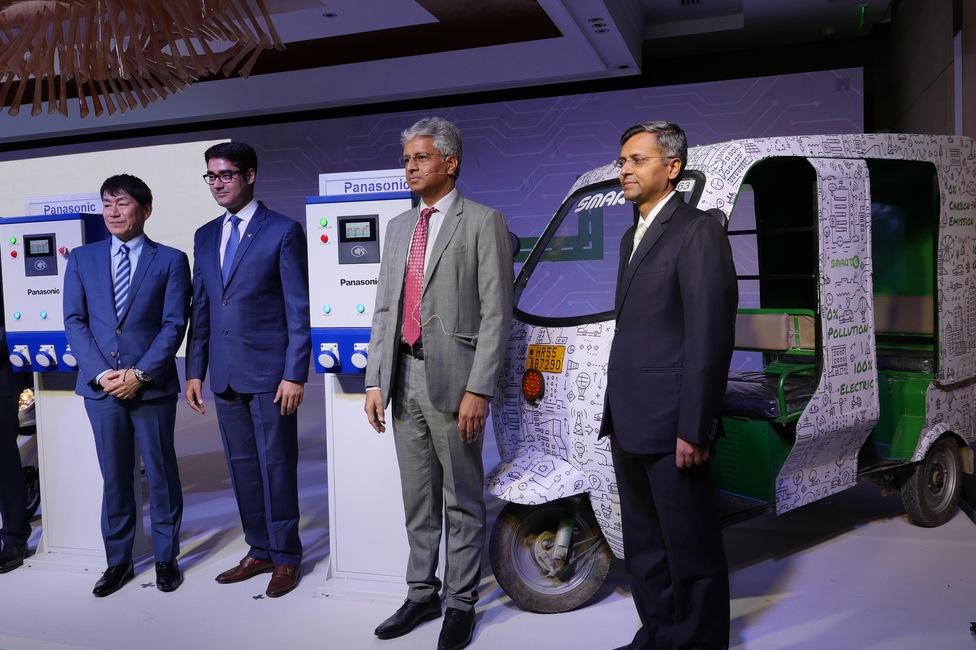 photo: Panasonic announced the launch of Nymbus. (From left) Yasumichi Murase, director, Lastmile Hub, Panasonic, Manish Sharma, president and CEO Panasonic India, Atul Arya, Head Energy Systems Division, Panasonic India, Goldie Srivastava, co-founder and CEO, SmartE
