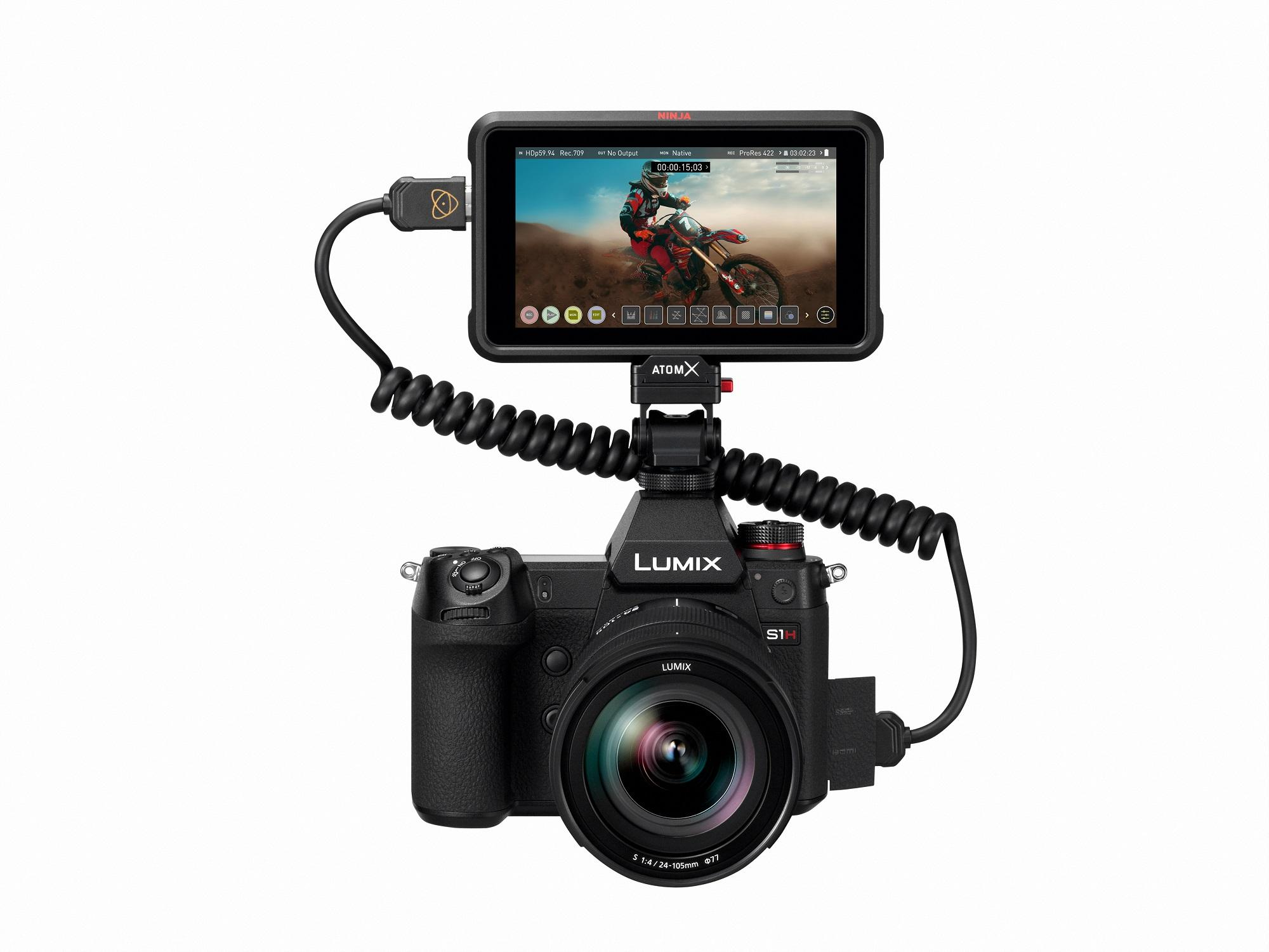 image: LUMIX S1H full-frame mirrorless camera with Atomos Ninja V 4K HDR monitor-recorder