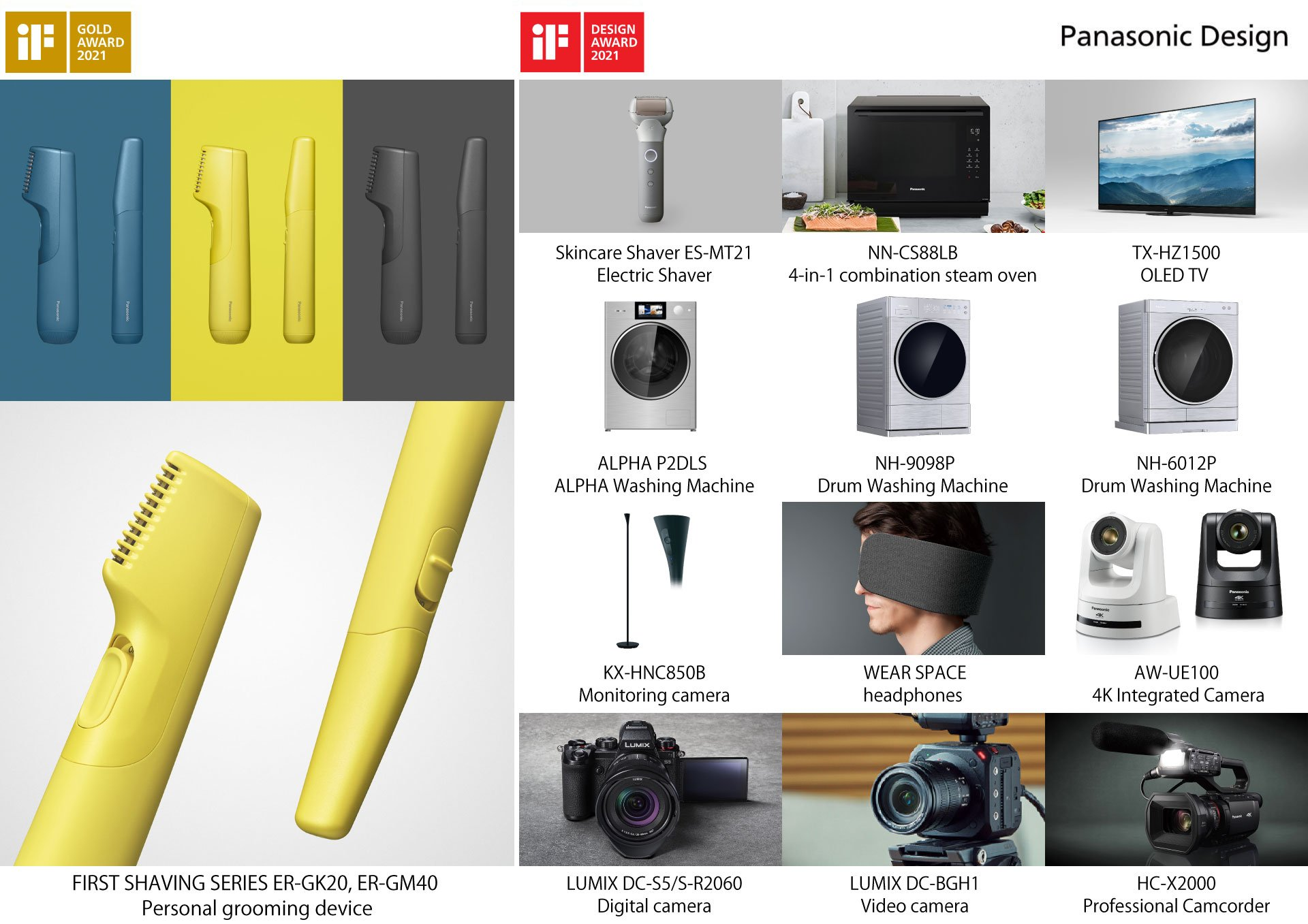 Products that received the iF DESIGN AWARD 2021.