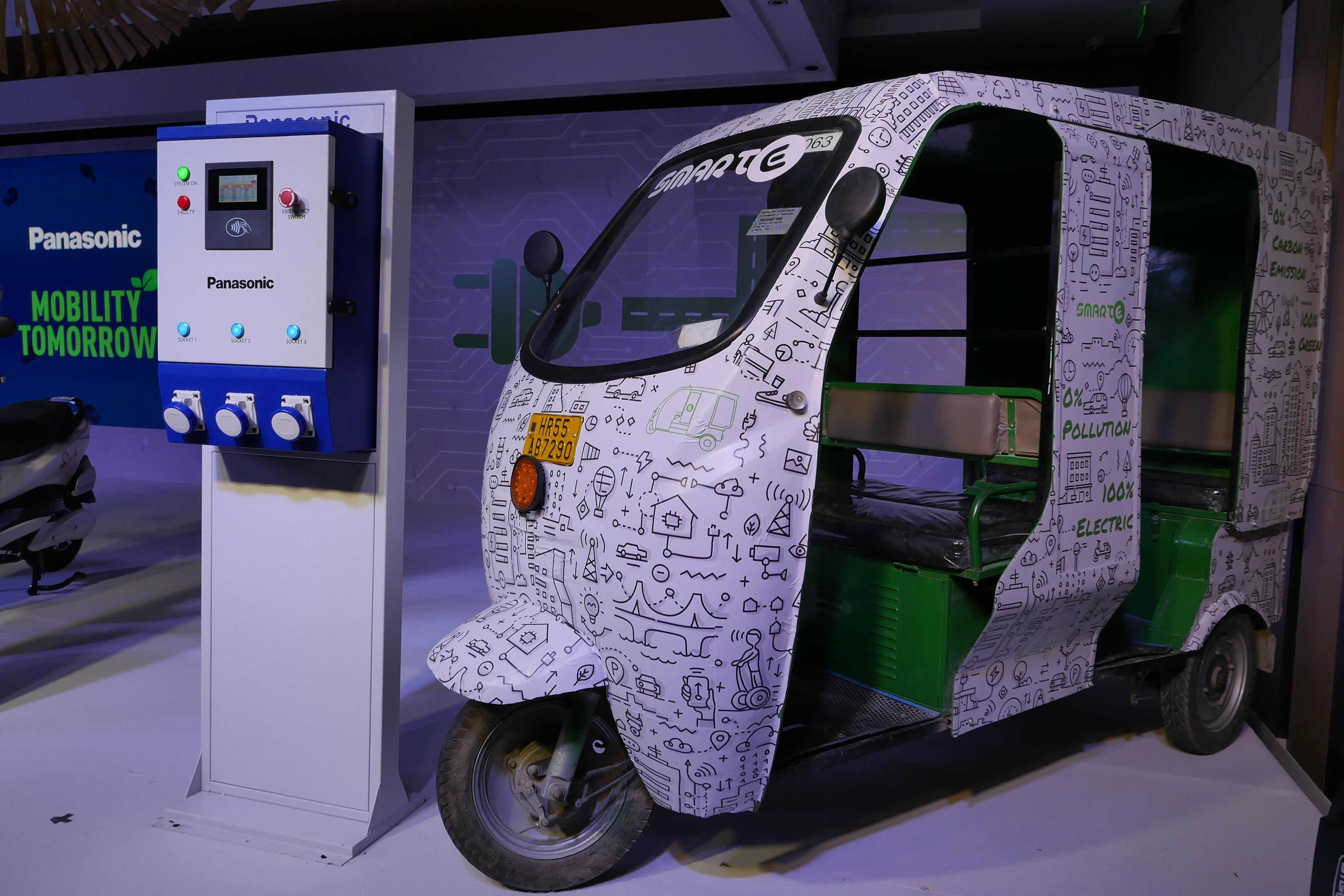 photo: Panasonic will be deploying the EV charging service on SmartE electric three wheelers and on qQuick 2 wheelers.