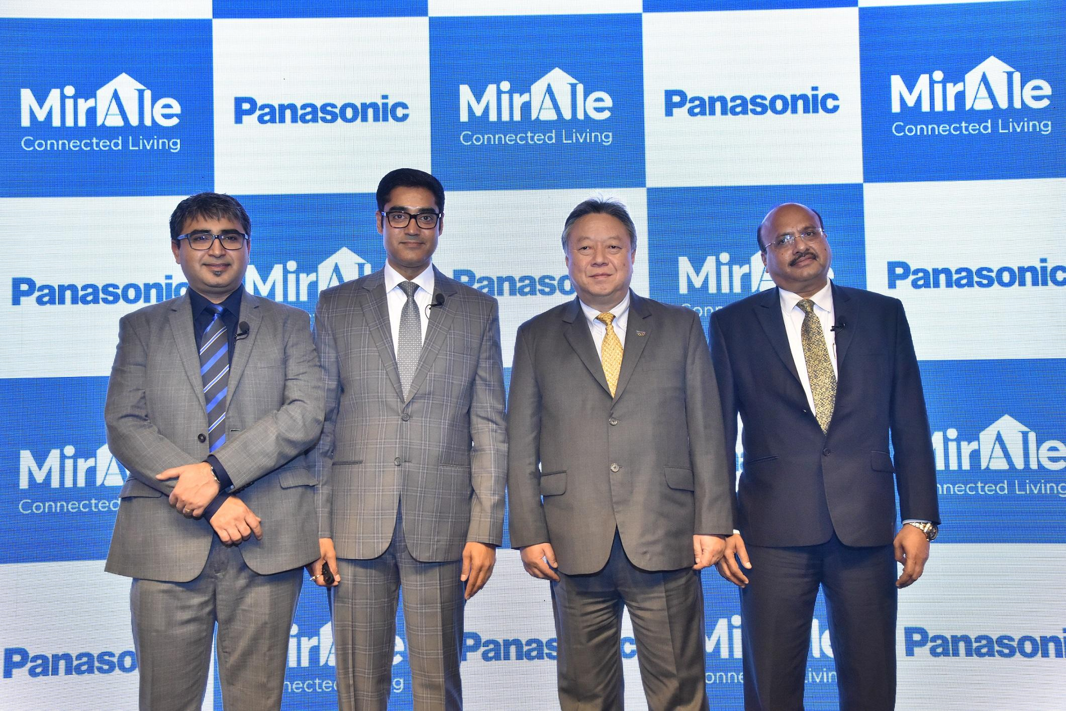 Photo: L-R Manish Misra (Chief Innovation Officer at Panasonic India), Manish Sharma, President & CEO Panasonic India, Daizo Ito, Managing Executive Officer and Regional Head ISAMEA, Dinesh Aggarwal, Joint Managing Director, Panasonic Life Solutions, at the launch event of Miraie