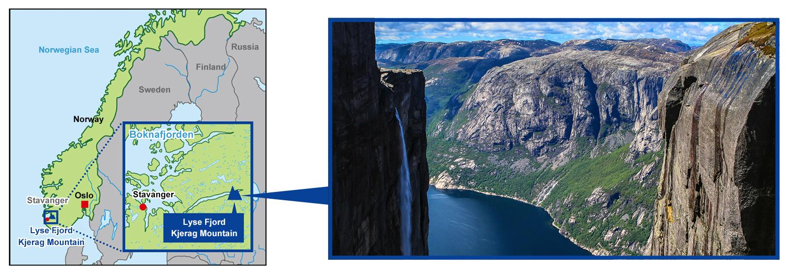 Map and image of fjord
