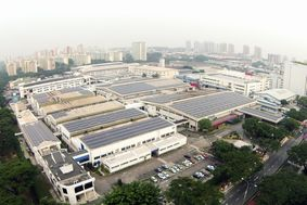 HIT solar panels installed on factory rooftop