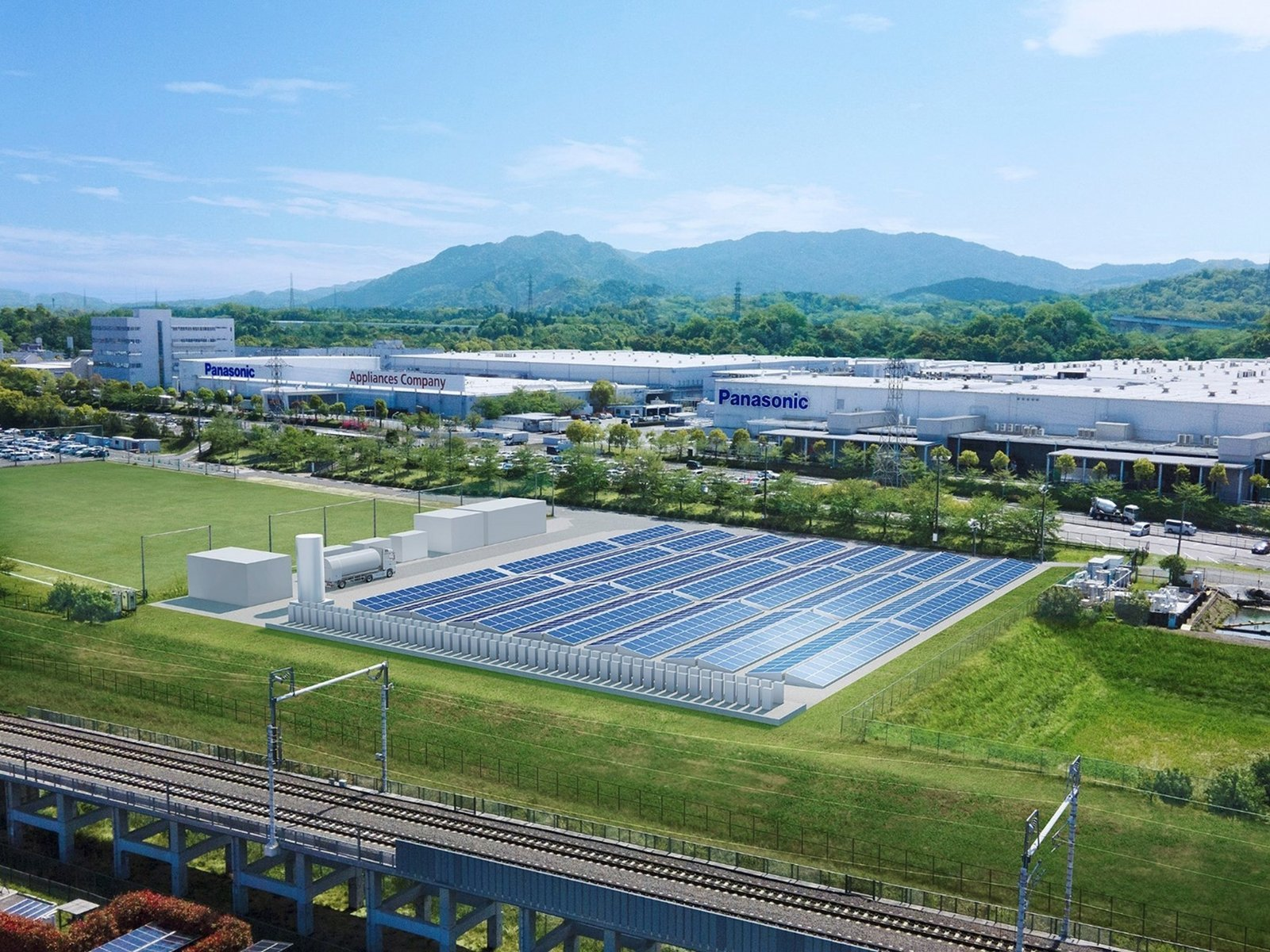 Image of the RE100 solution demonstration facility to be constructed at Panasonic's Kusatsu site in Shiga Prefecture