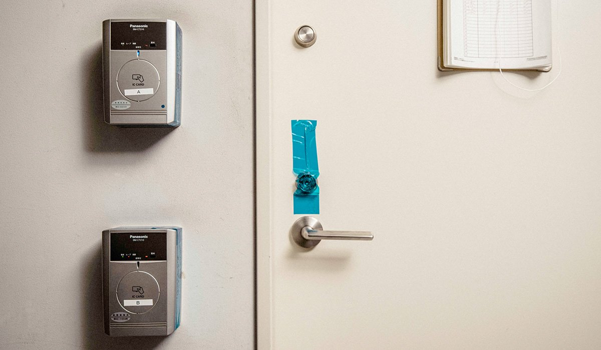 Photo: The door of the secure room at the product development site.