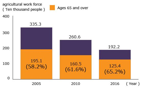 graph: Changes in the work force and percentage of elderly workers in Japanese agriculture