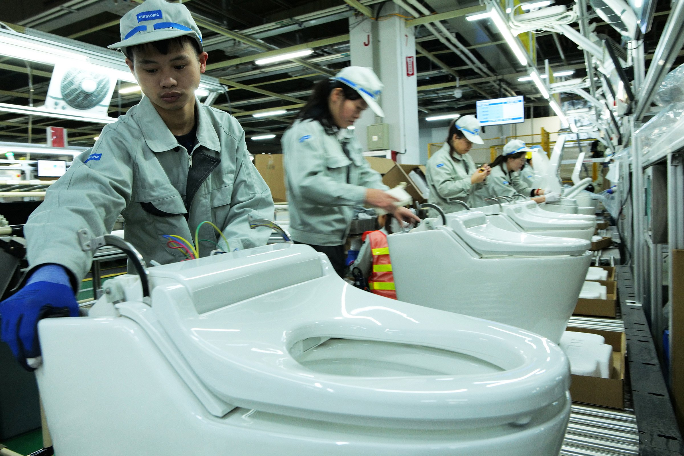 Photo: Assembly line for the toilet in the Panasonic Hangzhou plant.