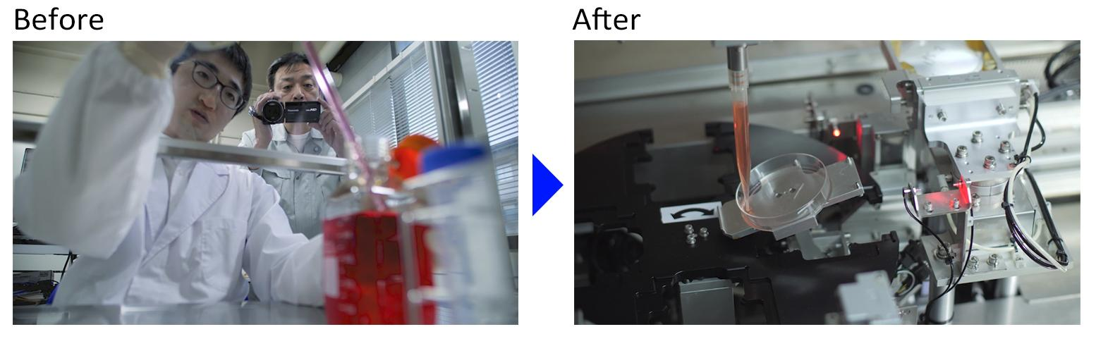 photo: pipette infusion and suction by automated cell culture system for iPS