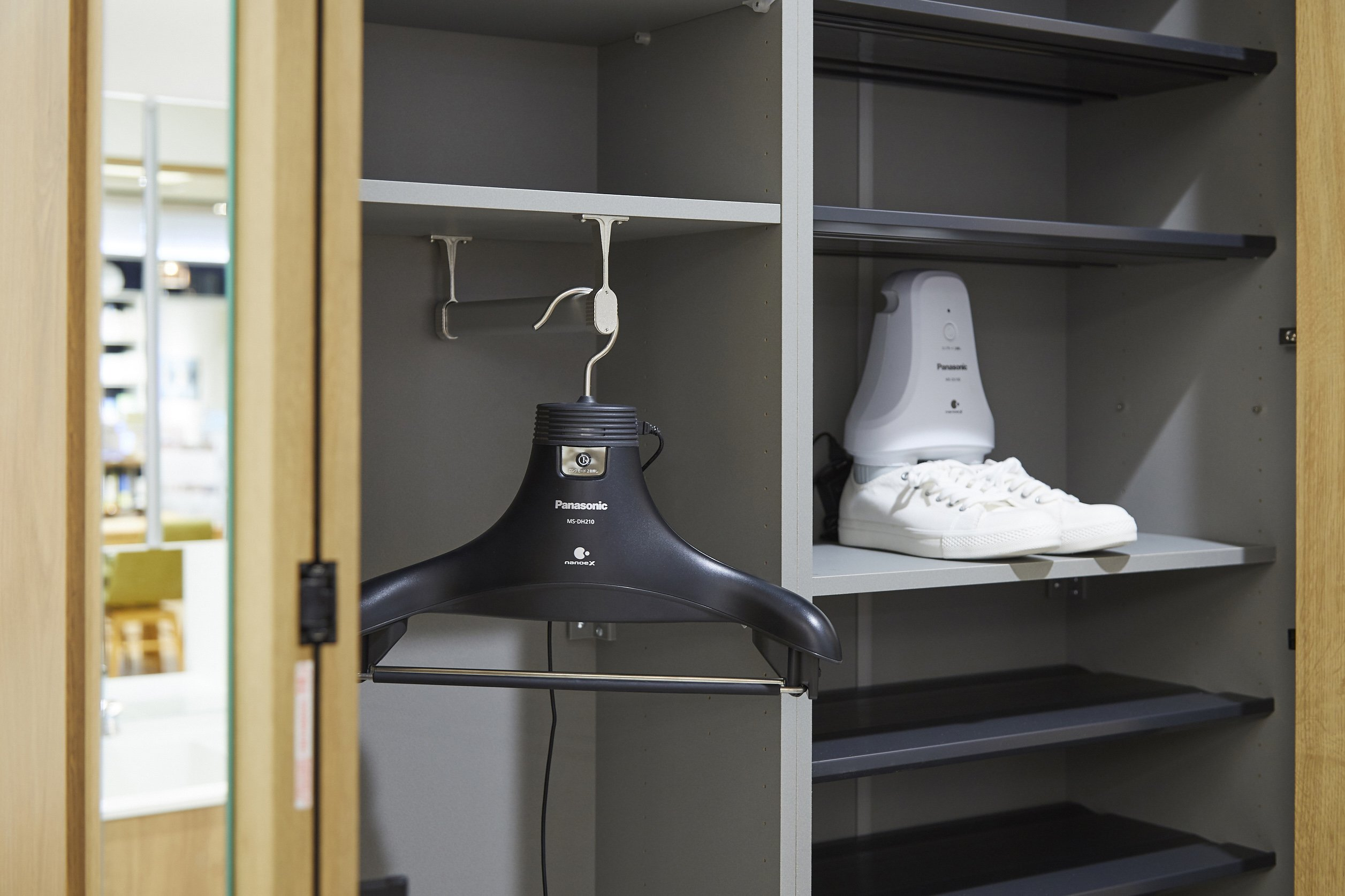 Photo: nanoe(TM) equipped deodorizing hanger and shoe deodorizer