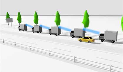 image: Real time footage of inter-vehicular distance and peripheral areas helps shipping truck platooning