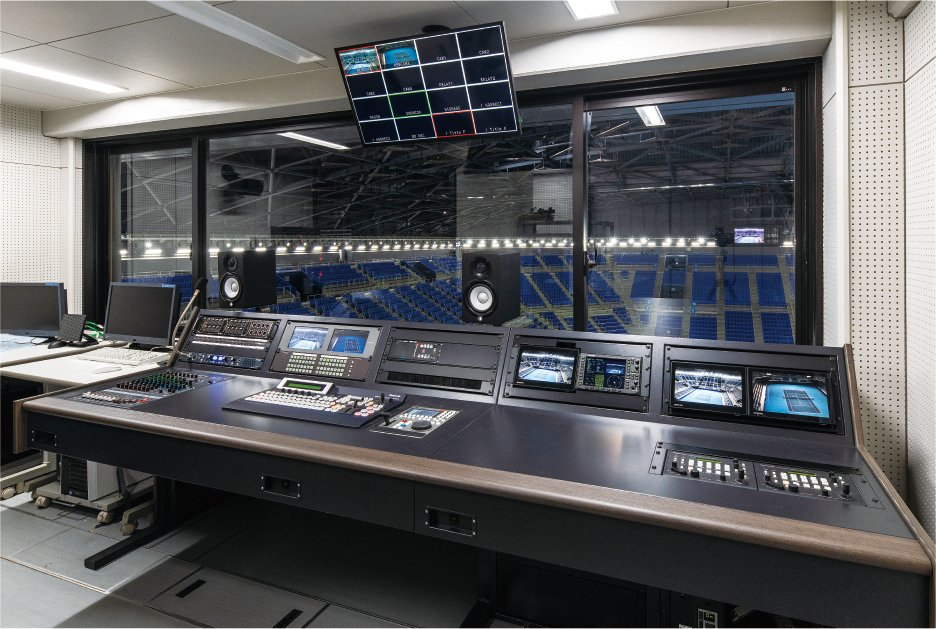 Photo: The video control room at the Ariake Coliseum. On the right you can see 2 controllers for the PTZ Cameras and a live switcher in the center.