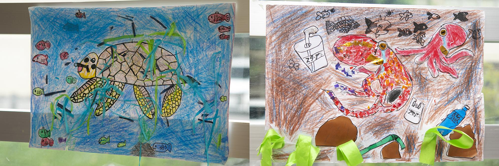 photo: Pictures drawn by the children that were used in the video