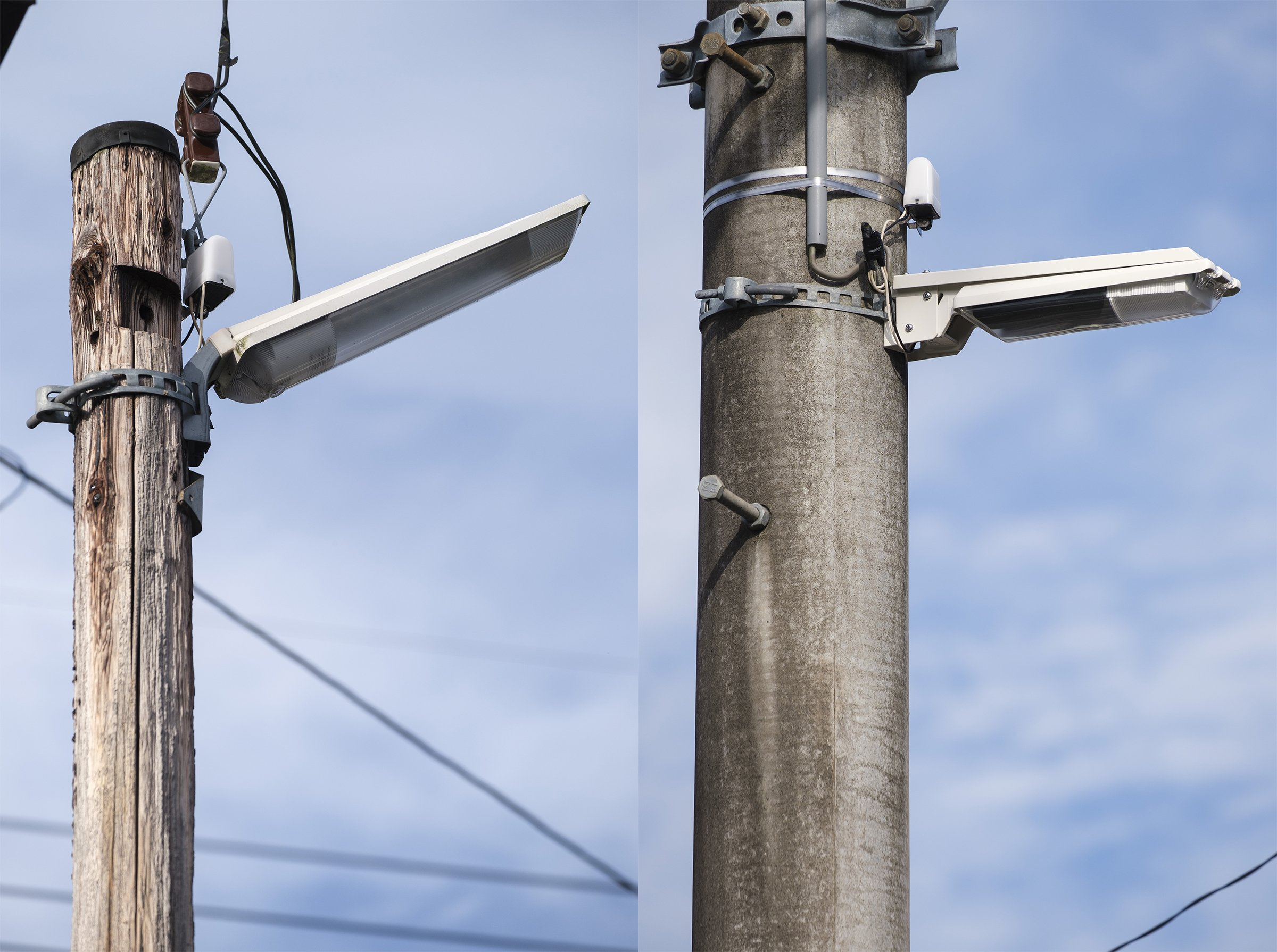 Photo: Conventional lighting which caused upward light leakage (left) and specially developed security lighting installed horizontally to protect the starlit sky (right).