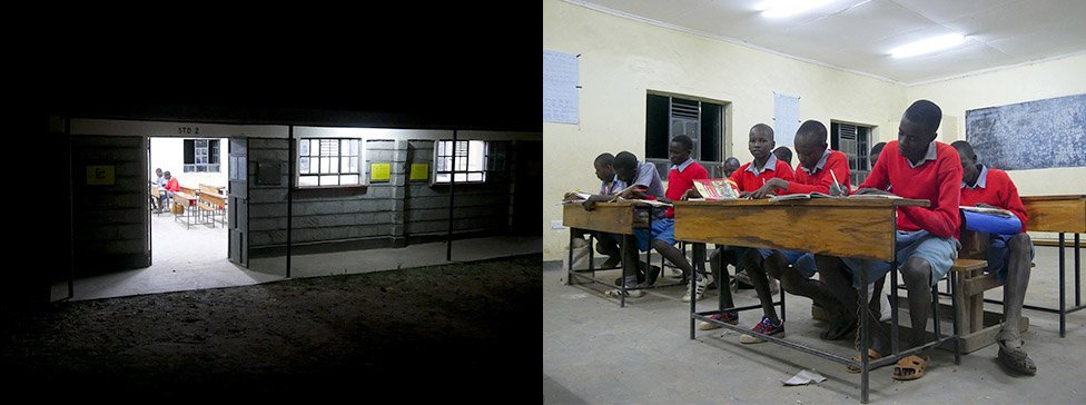 Photo: Additional classes held at night at the elementary school.
