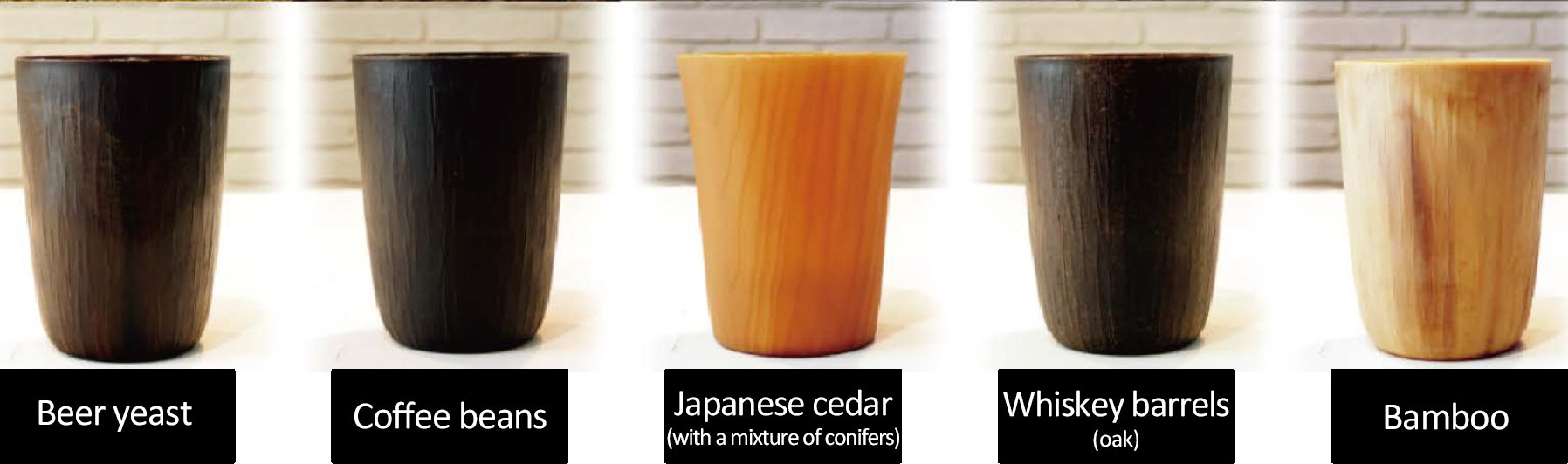 Photo: Reusable cups from beer yeast, coffee grinds, whiskey barrels, Japanese cedar (with a mixture of conifers), Whiskey barrels (oak), and Bamboo.