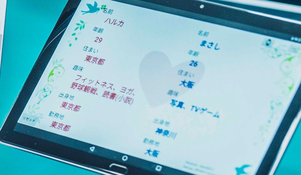 Photo: A tablet displaying participants' profile information during a matchmaking event.