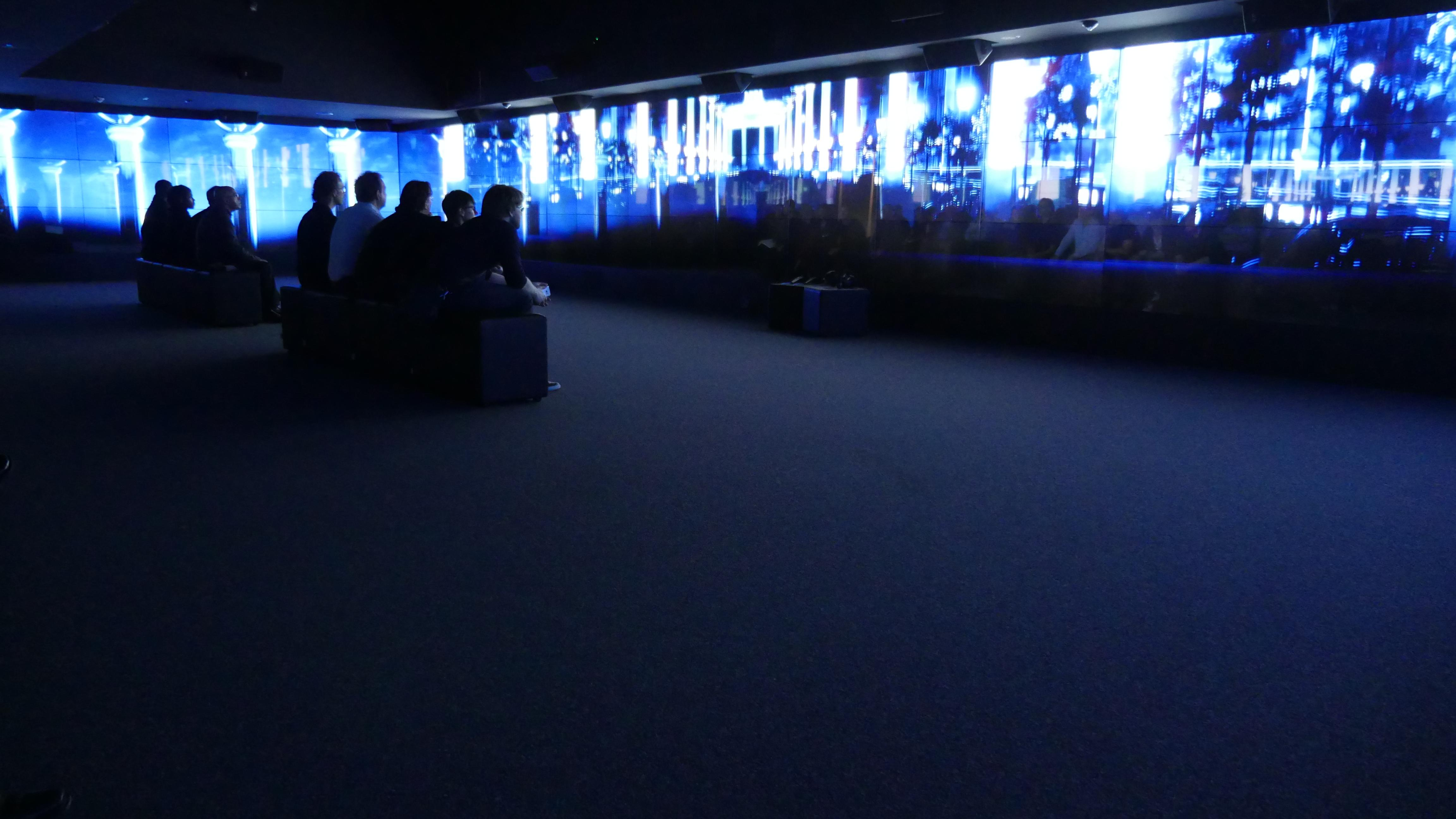 photo: videowall screens at the Brandenburg Gate Museum using 87 screens of Panasonic's