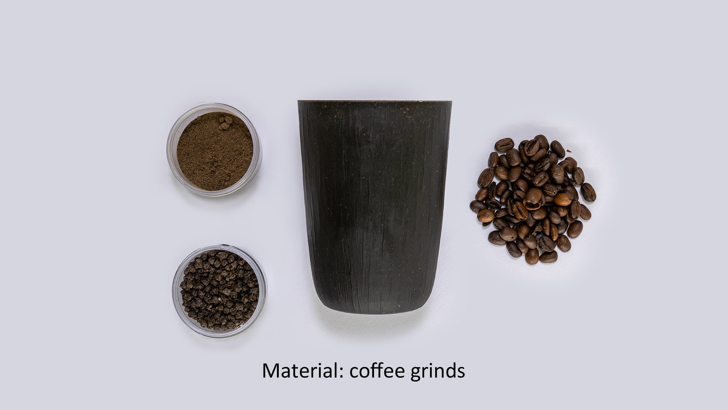 Photo: Reusable cups using cellulose fiber (material: coffee grinds).