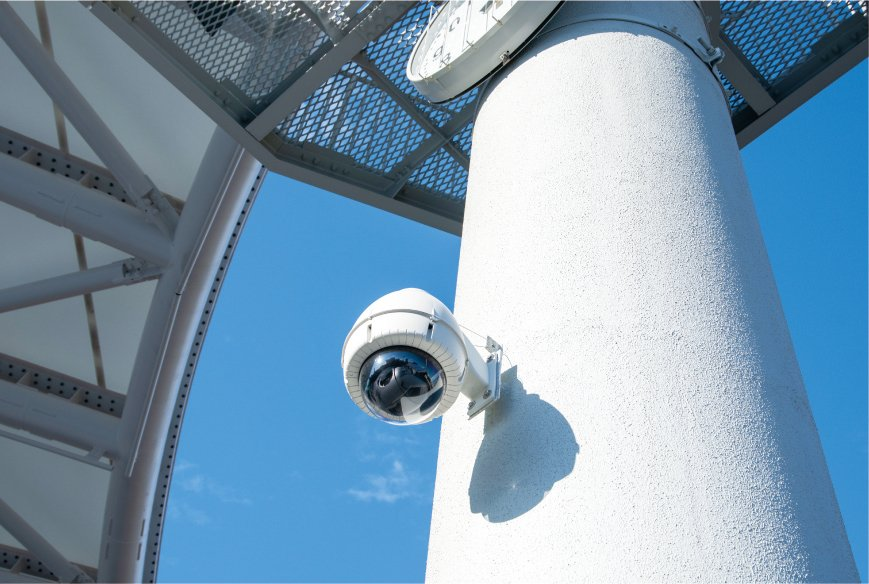 Photo: Two PTZ Cameras, AW-HE70 that have been installed in housings at the Show Court.