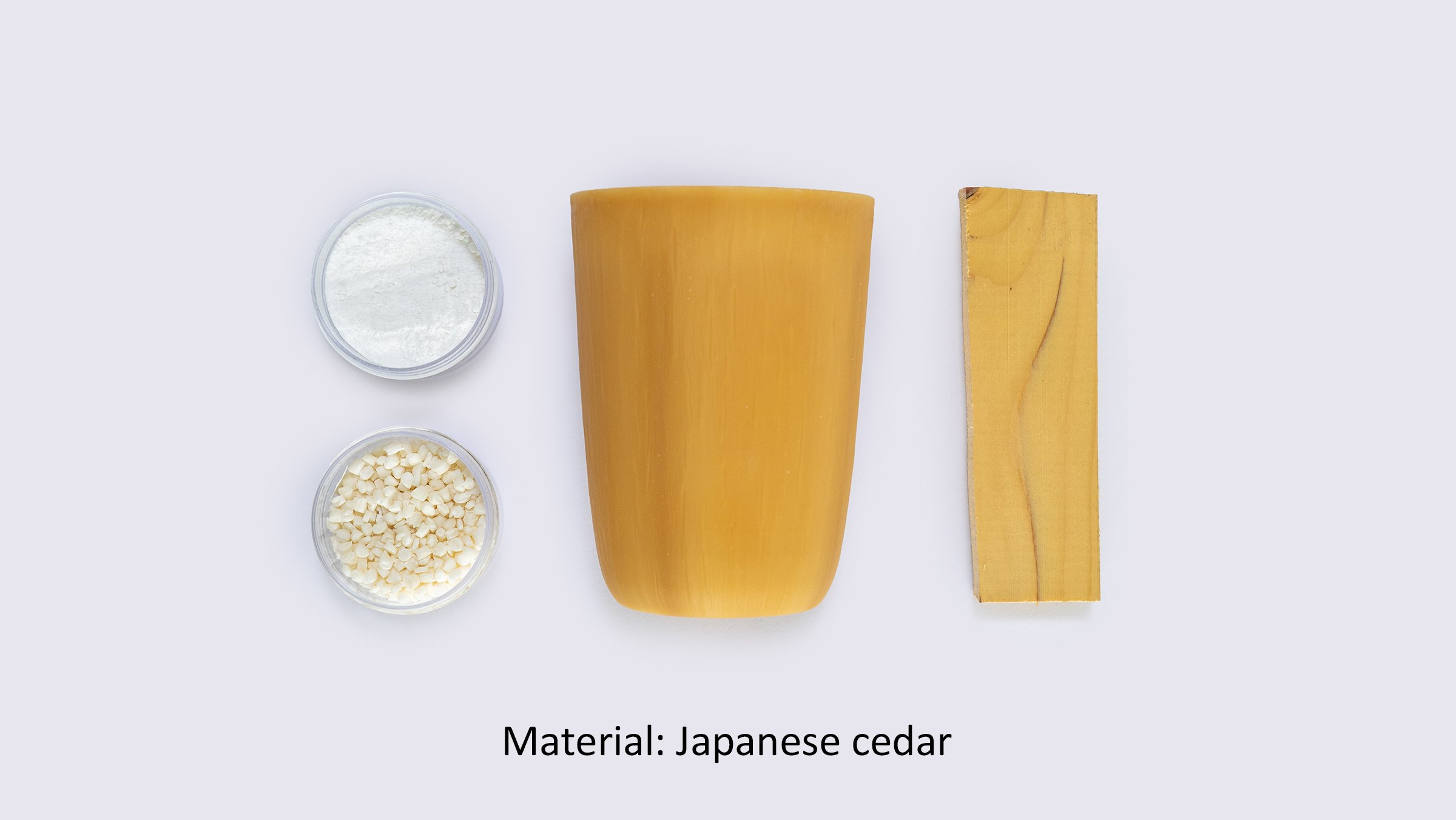 Photo: Reusable cups using cellulose fiber (material: Japanese cedar).