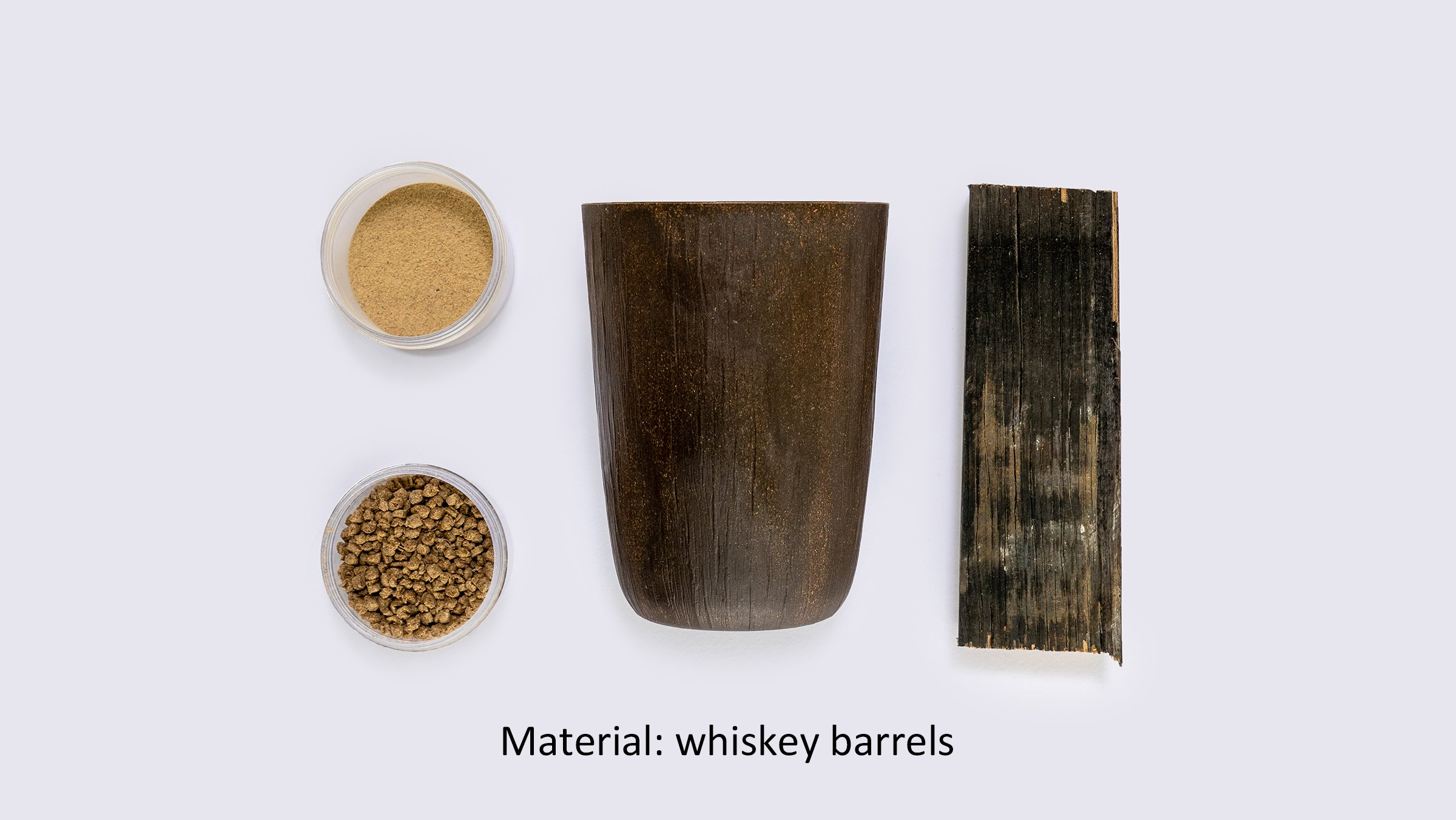 Photo: Reusable cups using cellulose fiber (material: whiskey barrels).