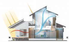 ゼロエネルギーを実現した住宅「スマートエコイエゼロ」風通・採光に配慮した パッシブ設計(夏)