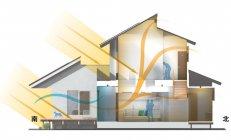ゼロエネルギーを実現した住宅「スマートエコイエゼロ」風通・採光に配慮した パッシブ設計(冬)