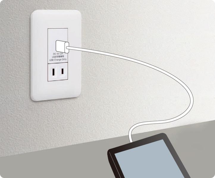 埋込充電用USBコンセント(使用イメージ)