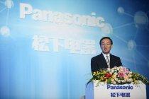 中国事業35周年記念式典でスピーチするパナソニック 津賀一宏社長
