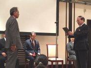 表彰を受けるパナソニック デバイスSUNX竜野株式会社 エココンポ市場開発グループの赤穂 英明氏