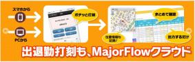 「MajorFlowクラウド 出退勤打刻」の機能イメージ
