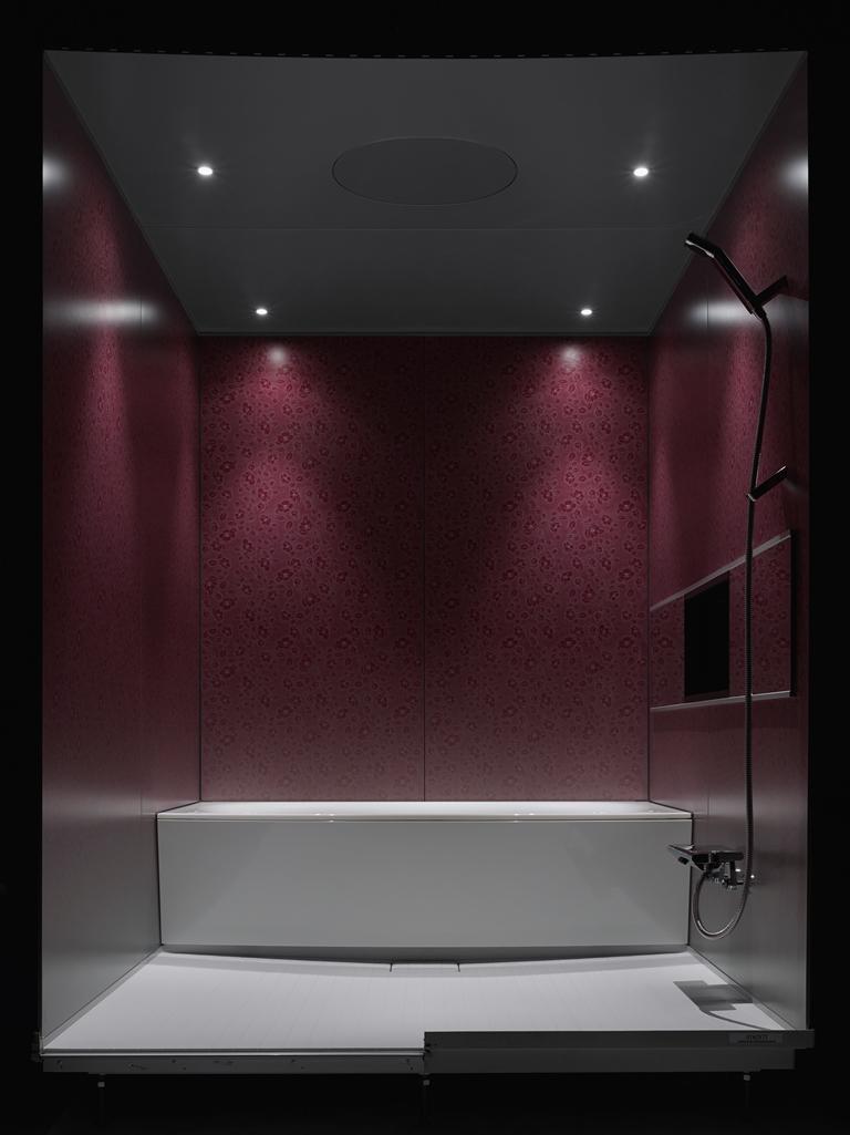 マンション用ユニットバス「i-X INTEGRAL」光と壁の組み合わせで再現する雲母刷り調の空間