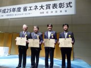 左から:吉村社長/エコシステムズ、渕上事業部長/ランドリー、本間役員、高田製造総括/キッチン