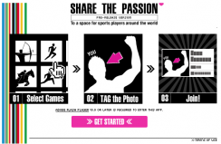 Facebookアプリ「SHARE THE PASSION」スタート画面