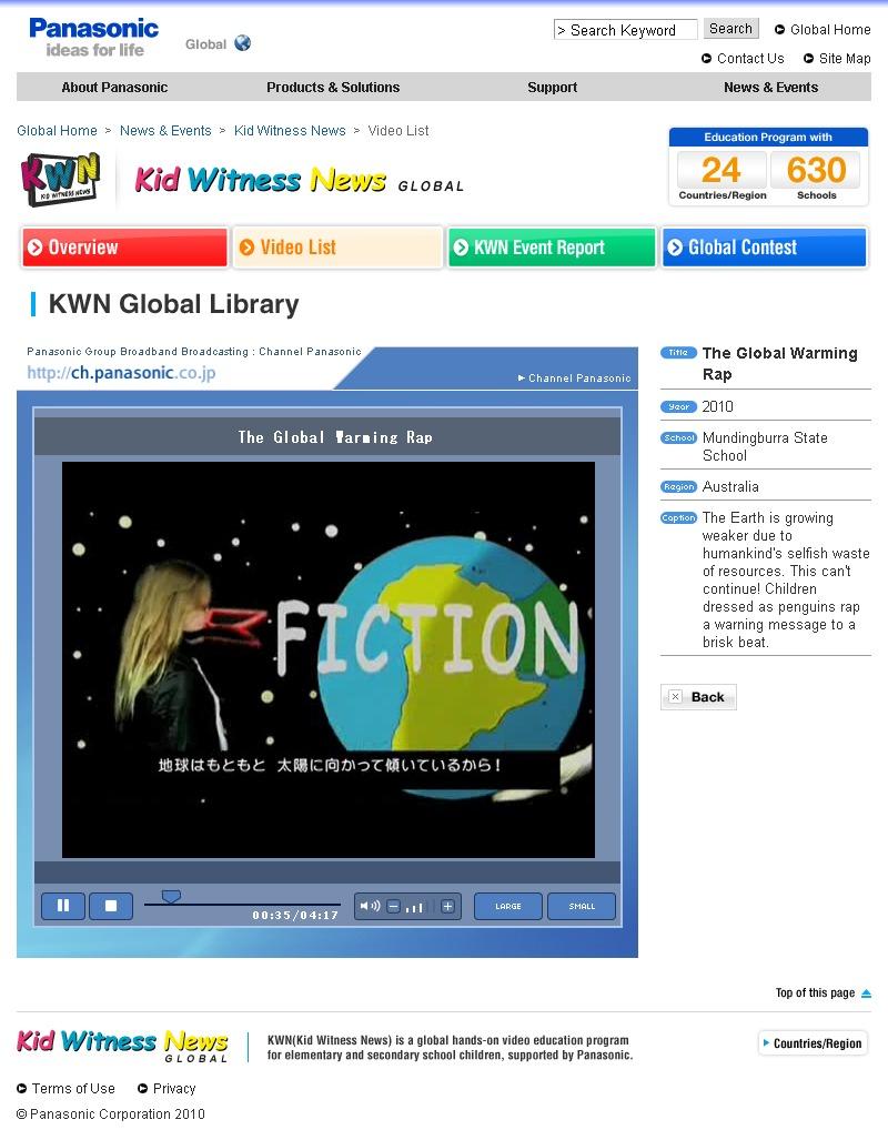 パナソニック「キッド・ウィットネス・ニュース(KWN)グローバルコンテスト2010」
