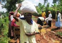 2011年助成NPO法人道普請人様のケニアでの活動(道直しに用いる土のう袋を運ぶ住民)