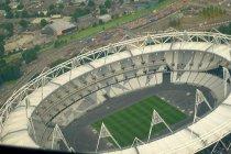 上空から見た完成間近のオリンピックパーク