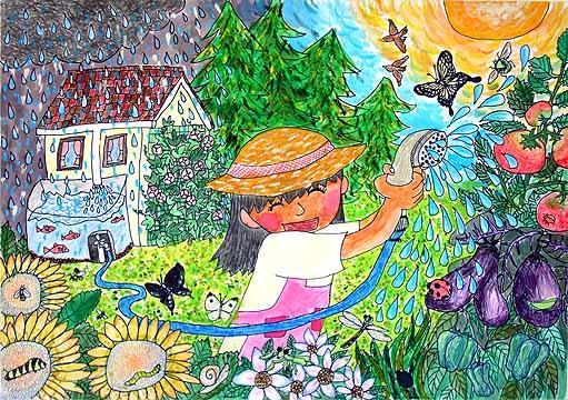 第7回環境絵画コンクール最優秀賞「命あふれるわたしの庭」