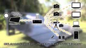 蓄電された電気は、カメラやPCなどに給電(1分09秒)
