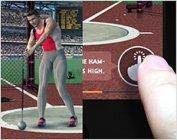 ハンマー投げ(指で操作):画面のボタンをより早く連続タップすることでハンマーがより遠くへ。