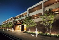 彩光色LED照明器具 屋外(植栽)用・マンション 使用イメージ