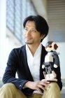 ロボットクリエイター高橋智隆氏とロボットの「ロビ」-ROBOT SCANDAL in GFO2013