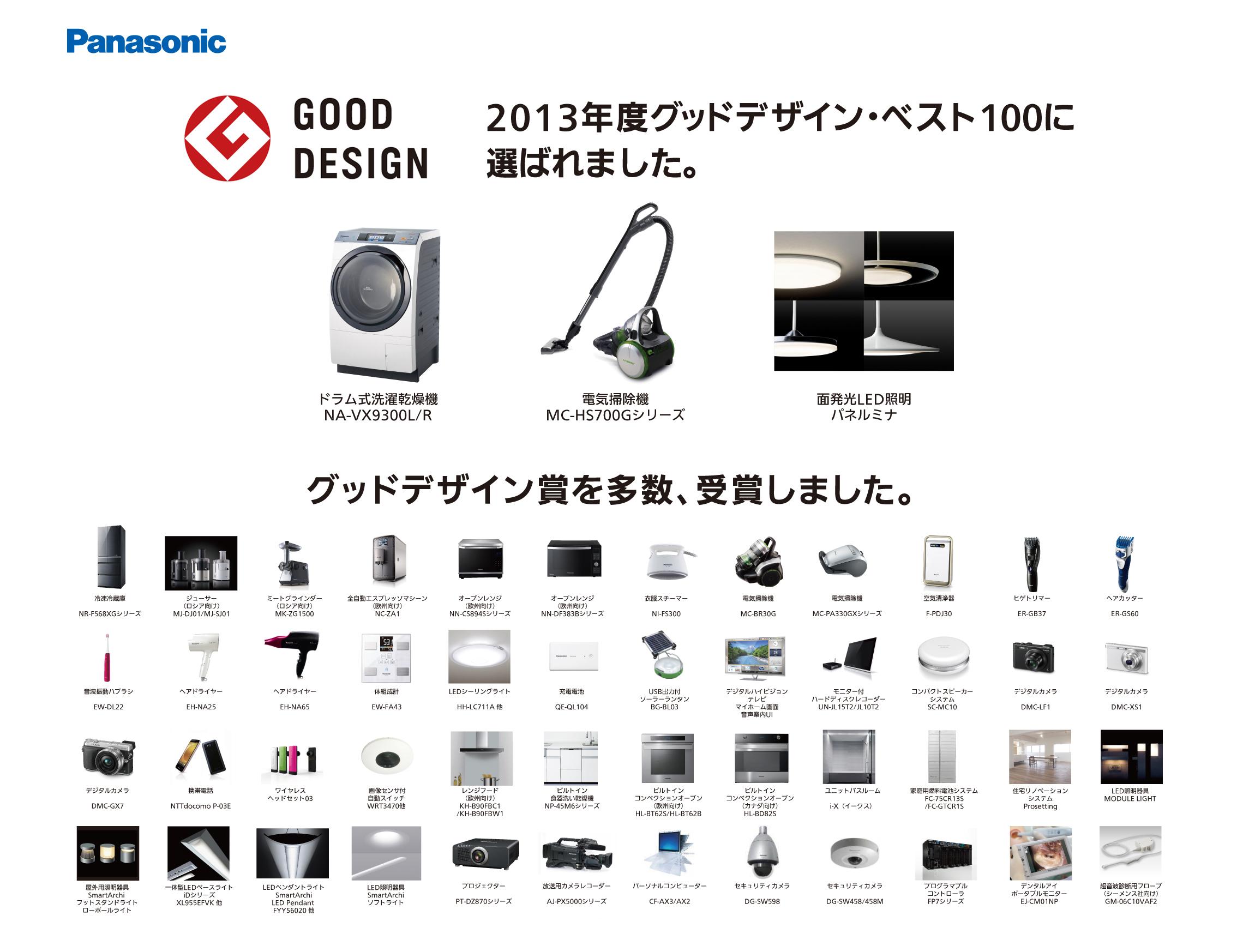 パナソニックの2013年グッドデザイン賞、受賞製品