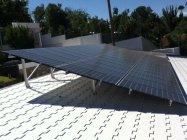 迎賓館の屋根に設置したパナソニックHIT太陽光パネル