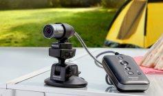 HX-A100にサクションカップマウント・トライポッドマウントを装着。テーブルなどに固定し撮影可能