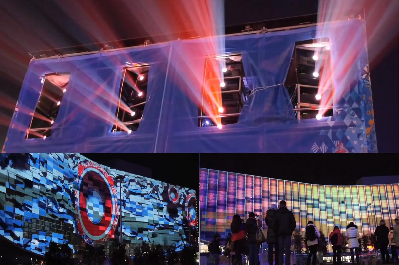 24台のプロジェクターを使って、巨大な壁面に映像を映し出す。集まった観衆の中には、踊り出す人の姿も。