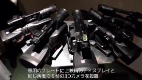 業務用一体型二眼式3DカメラレコーダーAG-3DA1を扇形に設置したシステム