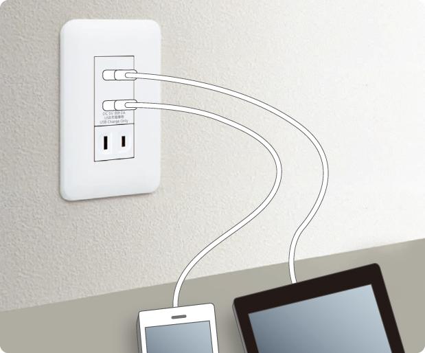 パナソニック「埋込 [充電用] USBコンセント 2ポート」(使用例)